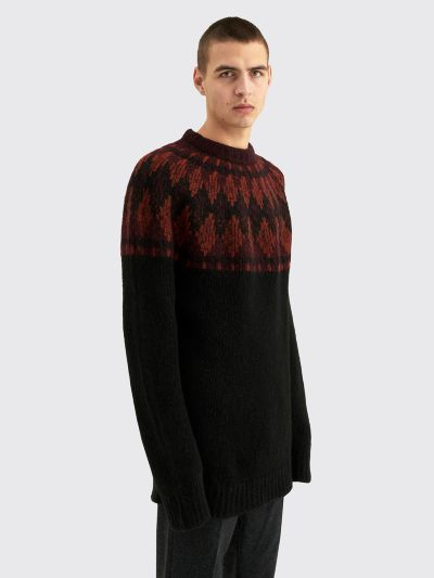 Raf Simons Roundneck Jacquard Sweater With Label Black