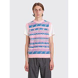 Acne Studios Krog Knitted Jacquard Vest Bright Pink by Très Bien