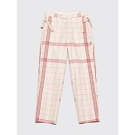 Bode Linen Side Tie Pants Bold Stripe White / Red by Très Bien