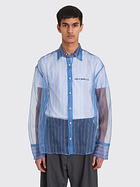 CMMN SWDN Cecil Silk Organza Shirt Blue Stripe
