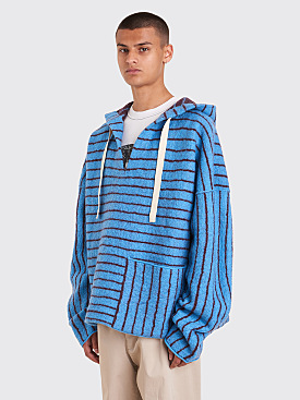 Acne Studios FN-MN-KNIT000008 Striped Knit Sweater Aqua / Burgundy
