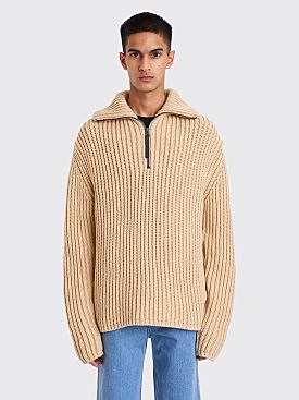 Acne Studios Zippered Polo Sweater Oat Beige