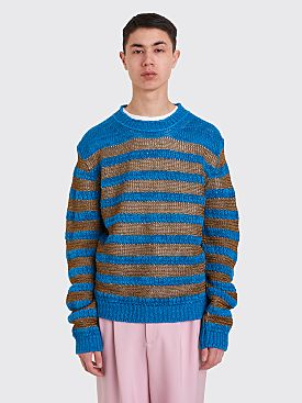 Acne Studios Striped Sweater Khaki / Turquoise