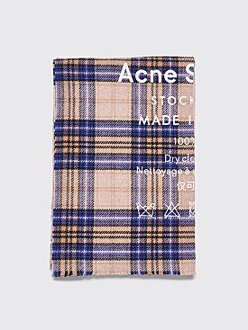 Acne Studios Cassiar Check Scarf Oatmeal / Blue Check
