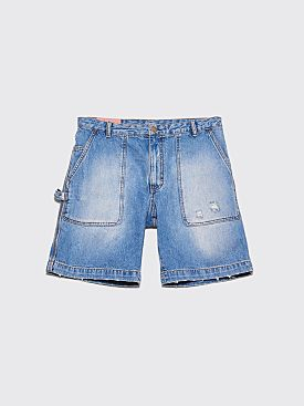 Acne Studios Blå Konst Denim Shorts Mid Ripped Indigo Blue
