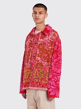 Bode Towel Workwear Jacket Red