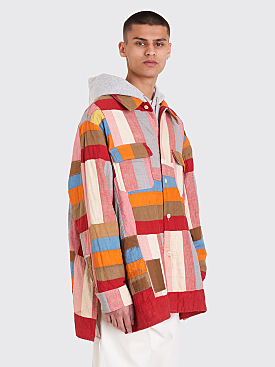 Bode Quilted Oversized Shirt Jacket Red