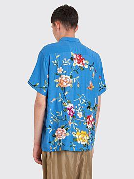 Bode Floral Kimono Bowling Shirt Blue