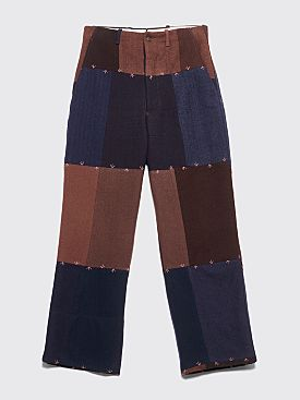 Bode Crows Feet Wool Back Buckle Pants Brown / Blue