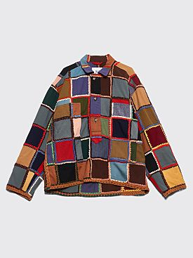 Bode Crochet Patchwork Pullover Shirt Multi Color