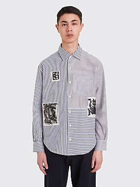 Brain Dead Paneled Button Up Shirt Navy / White
