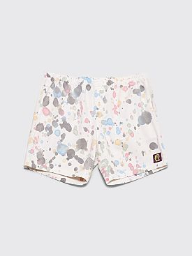 Brain Dead Beach Shorts Multi Splatter Dye White