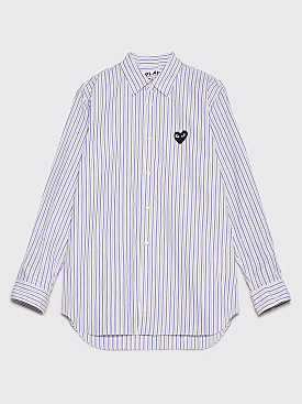 Comme des Garçons Play Small Heart Shirt Blue / Brown Stripe
