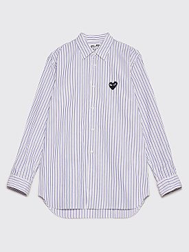 Comme des Garçons Play Small Heart Shirt Blue / Brown Stripe