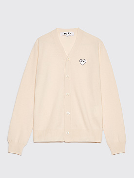 Comme des Garçons Play Small Heart Cardigan White
