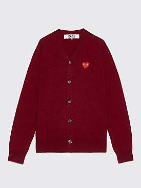 Comme des Garçons Play Small Heart Cardigan Red