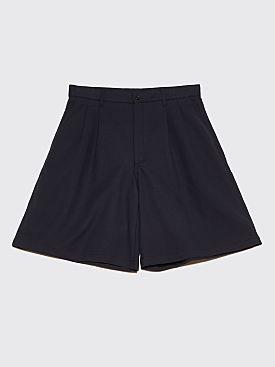 Comme des Garçons Shirt Wide Gabardine Shorts Dark Navy