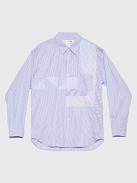 Comme des Garçons Shirt Patchwork Shirt Light Blue Stripes
