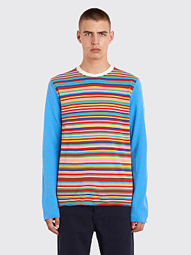 Comme des Garçons Shirt Boys Multi Color Striped Knit Sweater Blue
