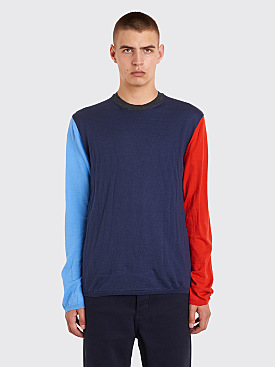 Comme des Garçons Shirt Color Block Knit Sweater Blue