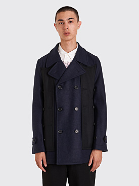 Comme des Garçons Shirt Layered Double Breasted Jacket Dark Navy