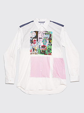 Comme des Garçons Shirt Jean-Michel Basquiat With Wool Panel Shirt White