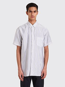 Comme des Garçons Button Down Short Sleeve Shirt White / Blue