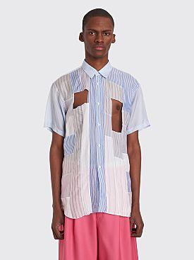 Comme des Garçons Shirt Cut Detail Short Sleeve Shirt White / Blue