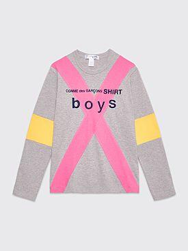 Comme des Garçons Shirt Boys Logo Panel LS T-shirt Grey / Pink