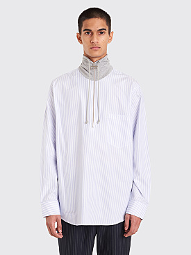 CMMN SWDN Reggie Half Zip Shirt Office Stripe