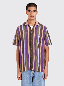CMMN SWDN Wes Knitted Shirt Lavender Stripe