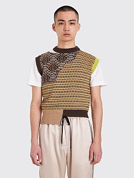 CMMN SWDN Ross Knitted Patchwork Vest Brown
