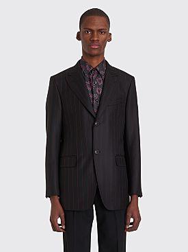 Cobra S.C. Peak Lapel Wool Jacket Black / Red Pinstripe