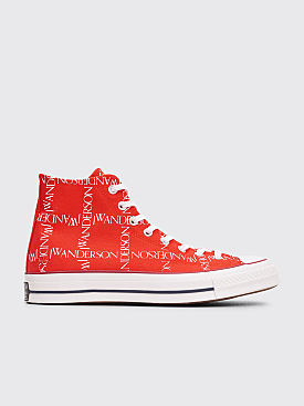 Converse x JW Anderson Chuck 70 HI Grid Flame Scarlet / White