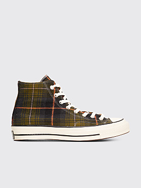 Converse Chuck 70 Hi Plaid Olive / Orange