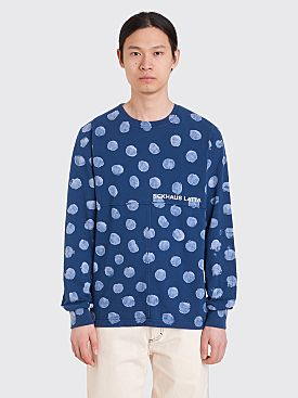 Eckhaus Latta Lapped LS Dot T-Shirt Indigo