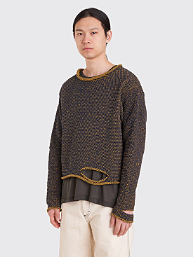 Eckhaus Latta Wiggly Road Sweater Navy / Mustard