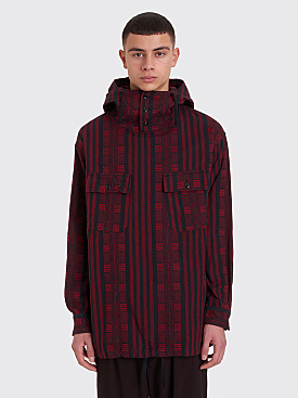 Engineered Garments Cagoule Shirt Stripe Jacquard Red / Black