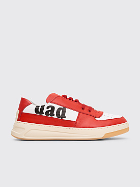 Acne Studios Perey Lace Up Lettering Sneakers Red / White