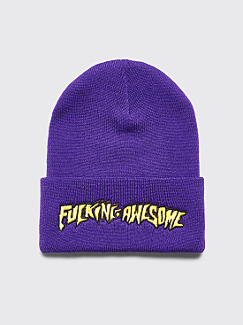 Fucking Awesome Outline Yellow Beanie Purple