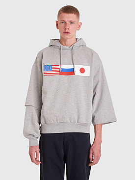 Gosha Rubchinskiy Flag Hooded Sweatshirt Grey