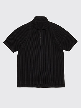 Homme Plissé Issey Miyake Pleated Polo Shirt Black