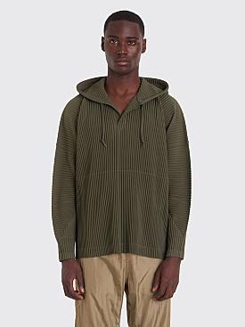 Homme Plissé Issey Miyake Pleated Hooded Sweatshirt Olive