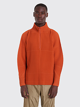 Homme Plissé Issey Miyake Pleated Half Zip Sweater Orange