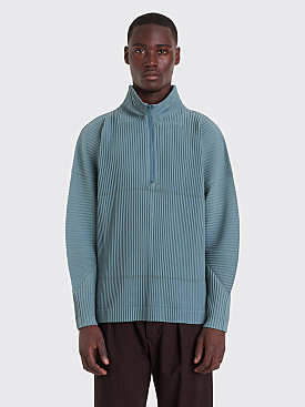 Homme Plissé Issey Miyake Pleated Half Zip Sweater Sage Green