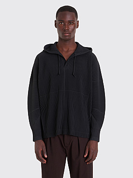 Homme Plissé Issey Miyake Pleated Hooded Sweatshirt Black
