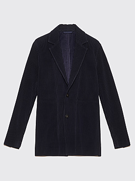 Homme Plissé Issey Miyake Pleated Blazer Jacket Dark Navy