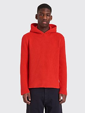 Jacquemus Knitted Sweater With Hoodie Red