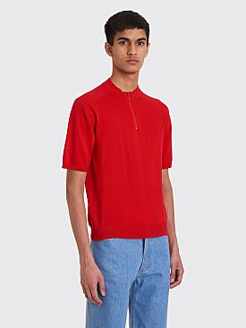 Jacquemus La Maille Cycliste Knitted Polo Red