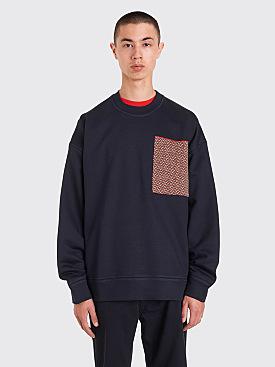 Jil Sander Knitted Pocket Sweatshirt Navy